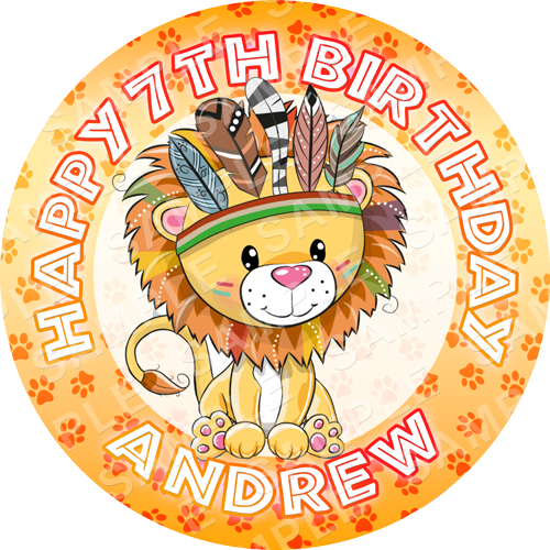 Lion Edible Cake Topper - Lion Edible Image - Round