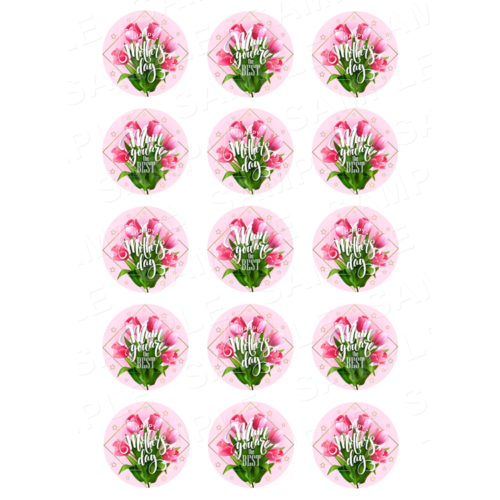 "15 x 2"" - Mothers Day Edible Cupcake Toppers - Mothers Day Edible Image Cupcake Toppers"