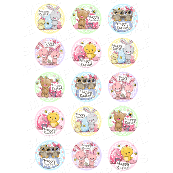 "15 x 2"" - Easter Edible Cupcake Toppers - Easter Edible Image Cupcake"