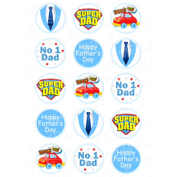 """15 x 2"""" - Father's Day Edible Cupcake Toppers - Father's Day Edible Image Cupcake"""